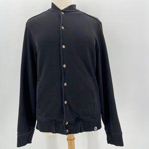 American Giant Black Button Sweatshirt Jacket XL